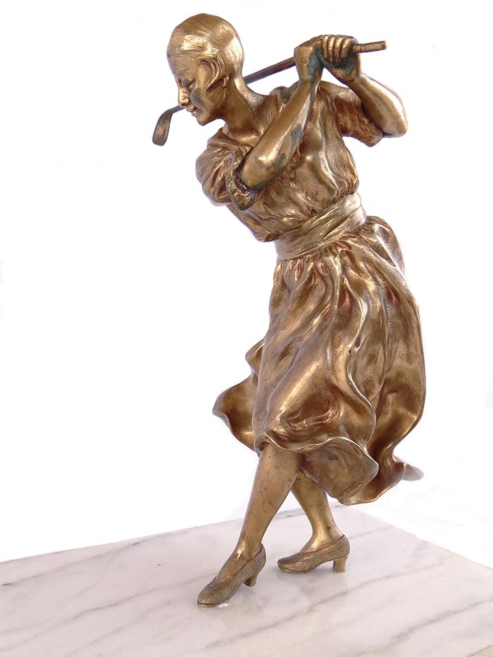 'A Gori' - bronze left-handed lady golfer sculpture now available for purchase at Sculpture Collector