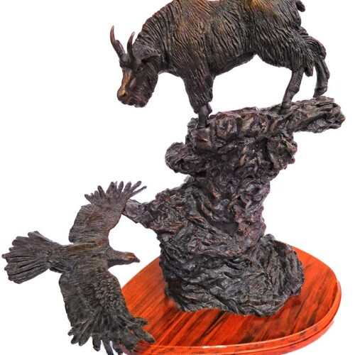 Ben France High in the Beartooths bronze sculpture of a goat and eagles available at Sculpture Collector