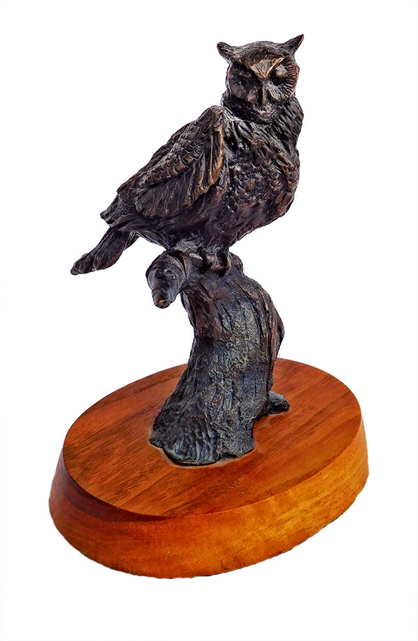 Ben France 'Owl' bronze sculpture of a goat and eagles available at Sculpture Collector