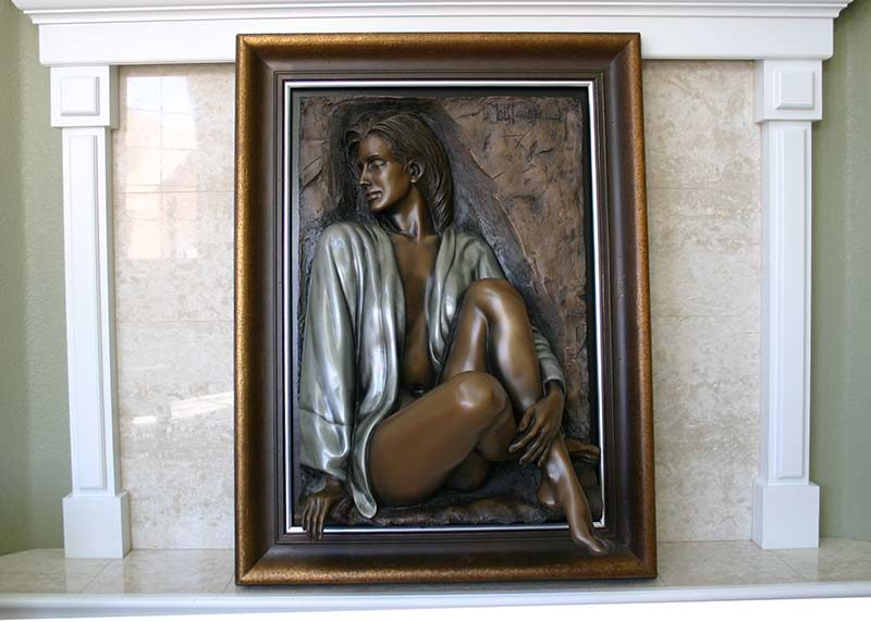 Bill Mack alto-relief sculpture - Dimensional Adorned - bonded bronze now available at Sculpture Collector