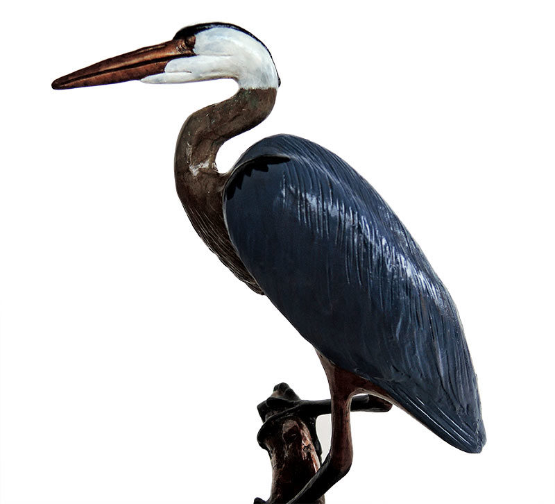 Bill Hunt Bronze Sculpture of a Blue Heron - Bartlett's Blue Heron - is now available for sale at Sculpture Collector