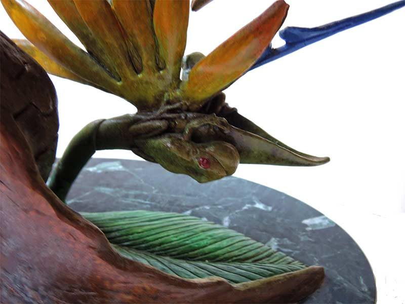 Bill Hunt Bronze Sculpture - Birds of Paradise - colorful toucan birds, smaller bird of paradise flower, 2 small frogs at Sculpture Collector