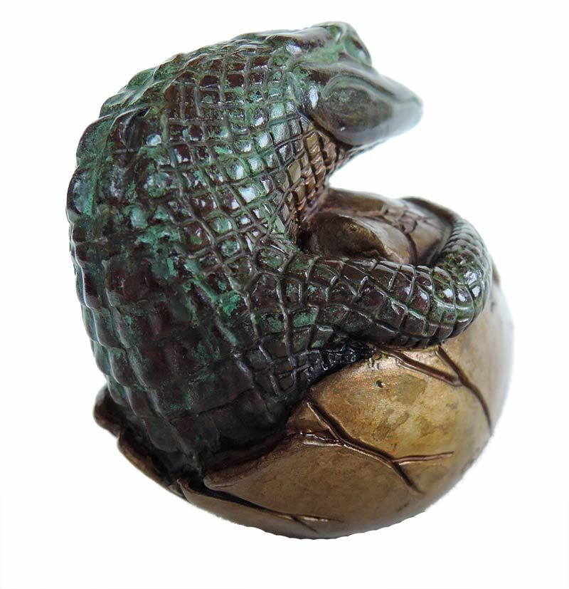 Bill Hunt Bronze Alligator Sculpture - Gator Hatchling - is now available for sale at Sculpture Collector