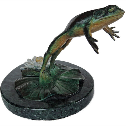 Bill Hunt Bronze Frog Sculpture - Leap for Life - is now available for sale at Sculpture Collector