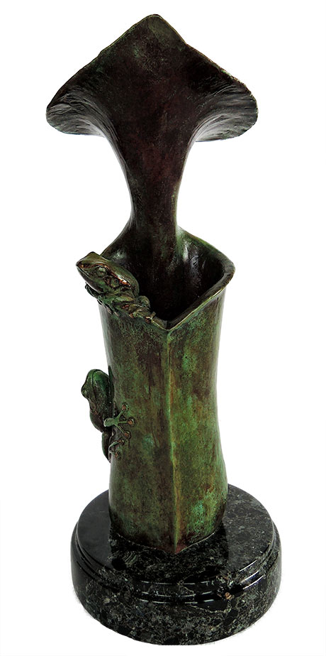 Bill Hunt Bronze Frog Sculpture - On the Edge - is now available for sale at Sculpture Collector