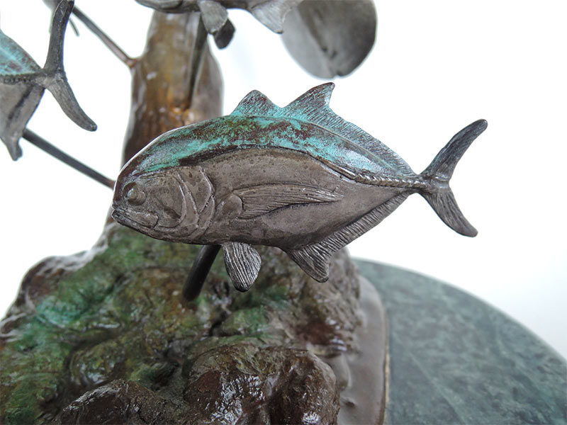 Bill Hunt Bronze Sculpture - Southern Siren - of a Manatee swimming with 5 Jack Crevalle fish now available at Sculpture Collector