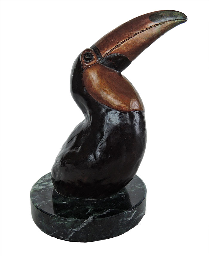 Bill Hunt Bronze Toucan Sculpture - Toco Toucan - a head study is now available for sale at Sculpture Collector