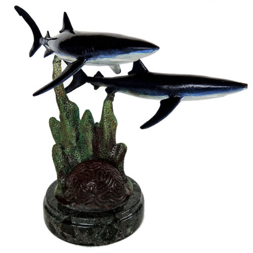 Bill Hunt Bronze Shark Sculpture - Wild Blue - is now available for sale at Sculpture Collector