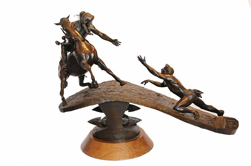 Bud Boller My Brother a bronze sculpture depicting the struggle of life available now for acquisition at Sculpture Collector