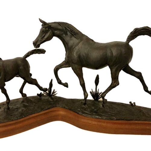 Carl Wagner Western Holiday bronze equine sculpture for sale at Sculpture Collector