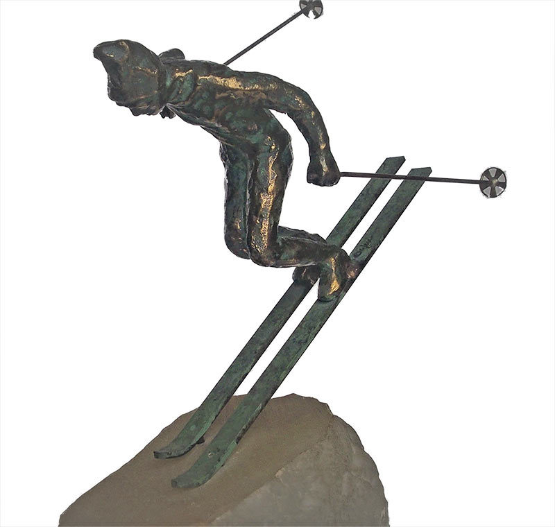 Curtis Jere The Skier bronze downhill skier sculpture available for sale at Sculpture Collector
