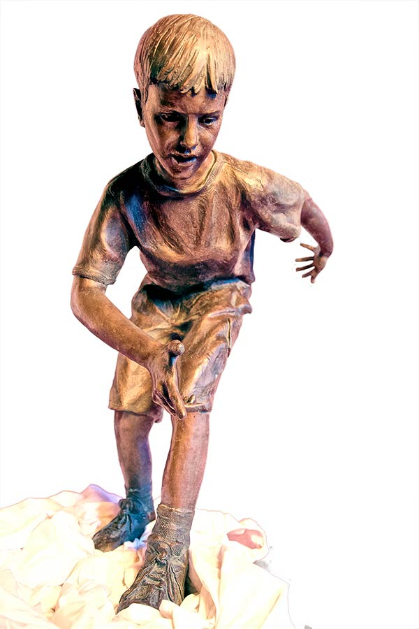 Dan Hill 'Balancing Act' figurative bronze sculpture of children at play for sale now at Sculpture Collector