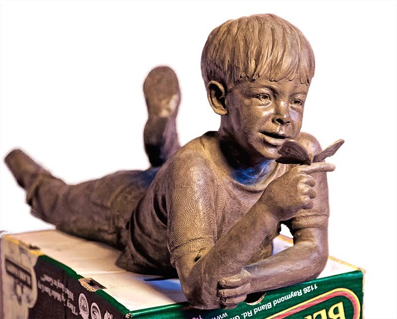 Dan Hill 'Butterfly Roundup' figurative bronze sculpture of children at play for sale now at Sculpture Collector