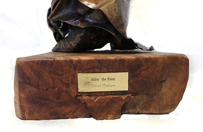 A most unique Daryl Colburn non-ferrous metal sculpture titled Ridin' the Point is well over 25 years old in perfect condition available now at sculpture Collector!