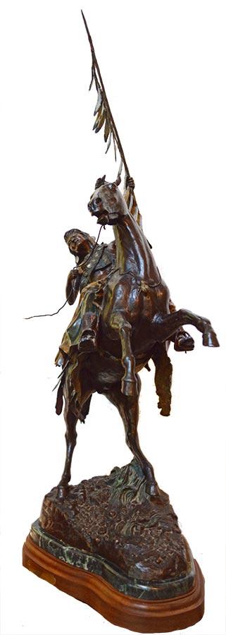 David Manuel 'Destiny' bronze Native American Warrior & Appaloosa equine sculpture available for sale at Sculpture Collector