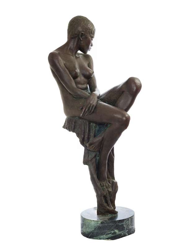 Enzo Plazzotta 'Jamaican Girl' bronze figurative sculpture available now from Sculpture Collector