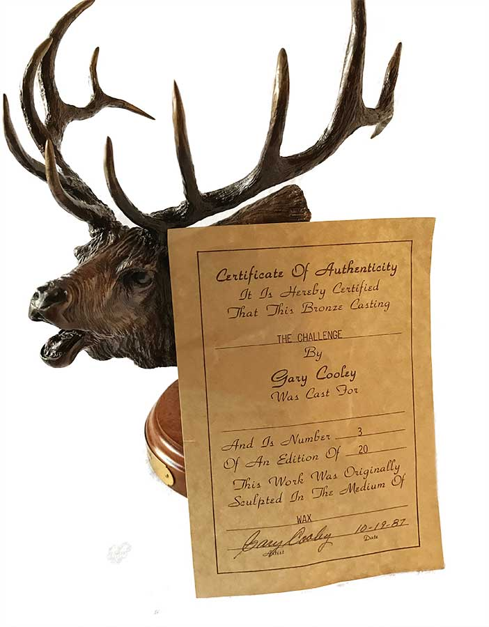 Gary Cooley 'The Challenge' bronze sculpture of an Elk now available at Sculpture Collector