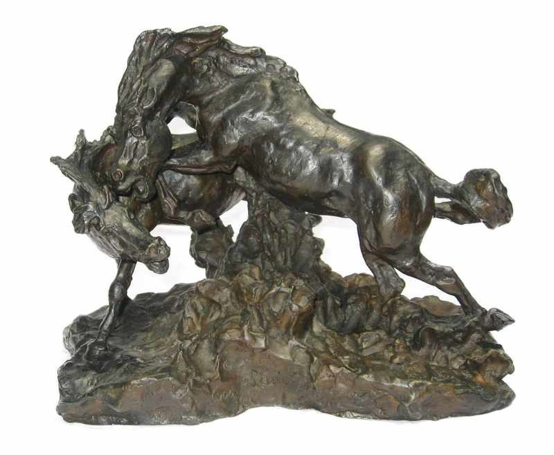 Gary Schildt Bronze Sculpture Fighting Horses available at Sculpture Collector