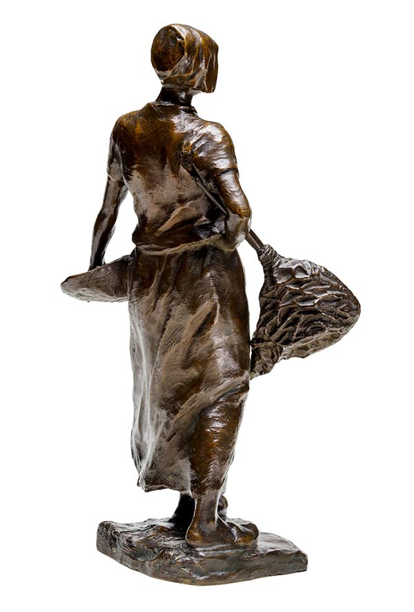 Hans Muller Fine Art Deco Bronze Sculpture - The Fisher Lady - available now at Sculpture Collector