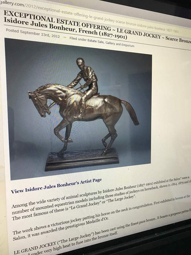 Isidore Bonheur Grande Jockey bronze sculpture for sale at Sculpture Collector