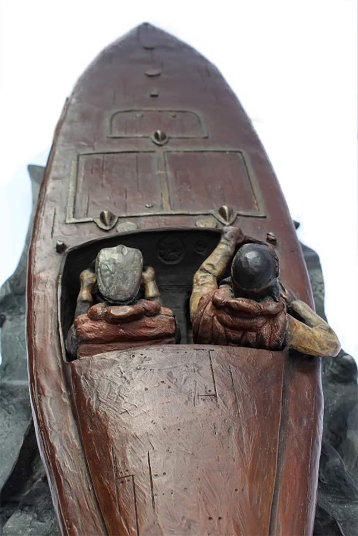 Jeff Decker Bronze Sculpture The Baby Bootlegger a 1924 World Cup race boat for sale now at Sculpture Collector