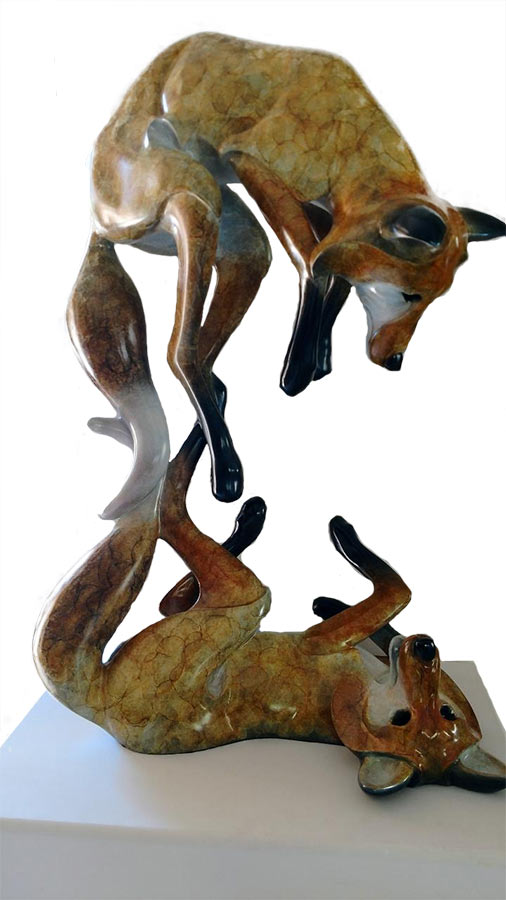 Jason Napier 'Fox Play' life-size bronze sculpture of foxes at play now available for purchase at Sculpture Collector