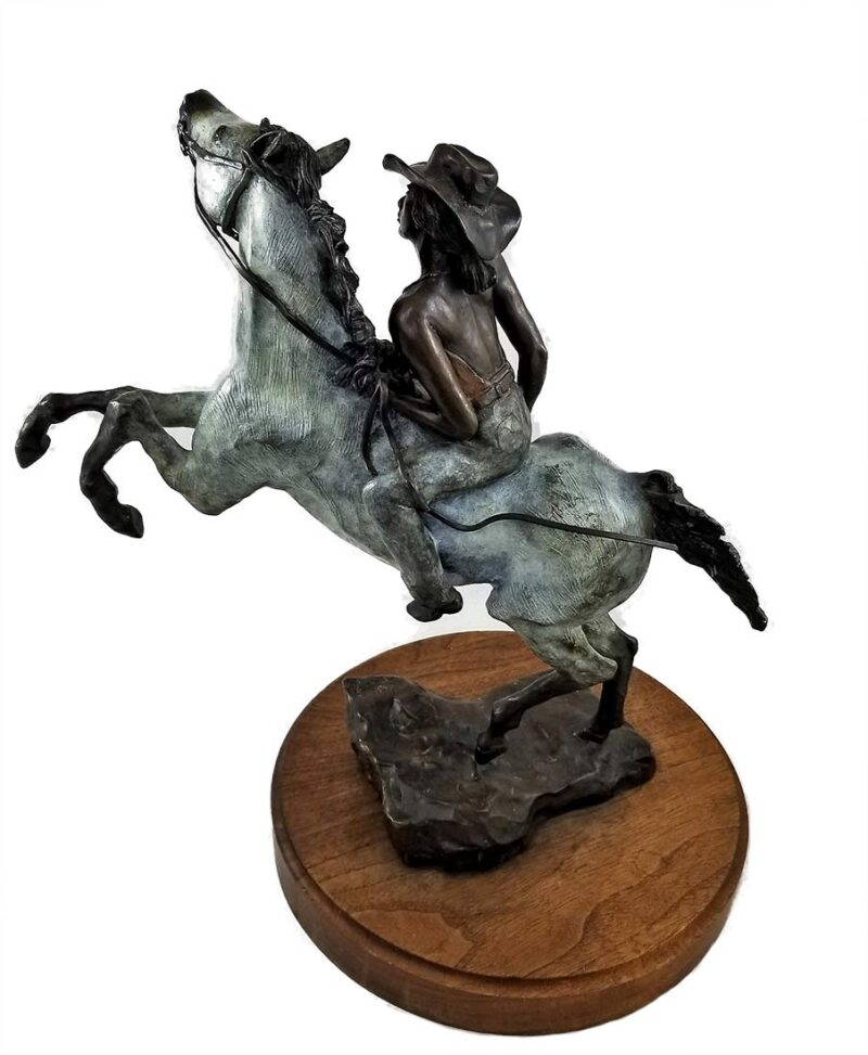"JR Eason ""Bareback"" a beautifully created bronze equine sculpture with a cowgirl riding bareback available for sale at Sculpture Collector"