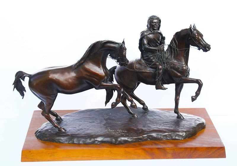 Judy Nordquist War Mare bronze Arabian equine sculpture available for sale at Sculpture Collector