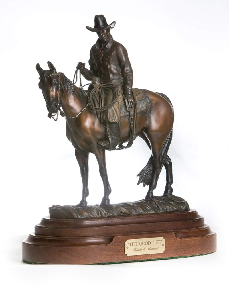 The Good Life western bronze sculpture by Linda Stewart at Sculpture Collector