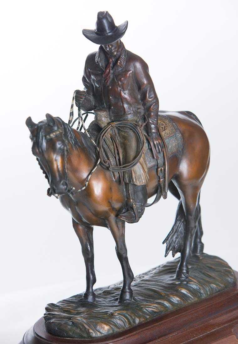 The Good Life by Linda Stewart a western bronze sculpture