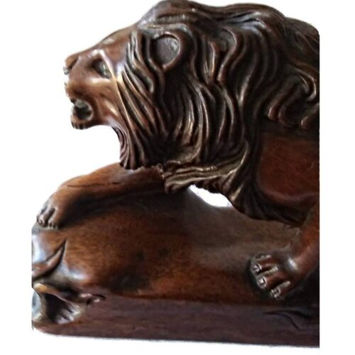 Carved wood Lion ovedr 50 years old at Sculpture Collector