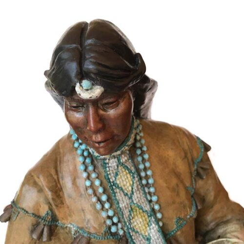 Changing Woman a Native Americam bronze sculptire by Marie Barbera available at Sculpture Collector