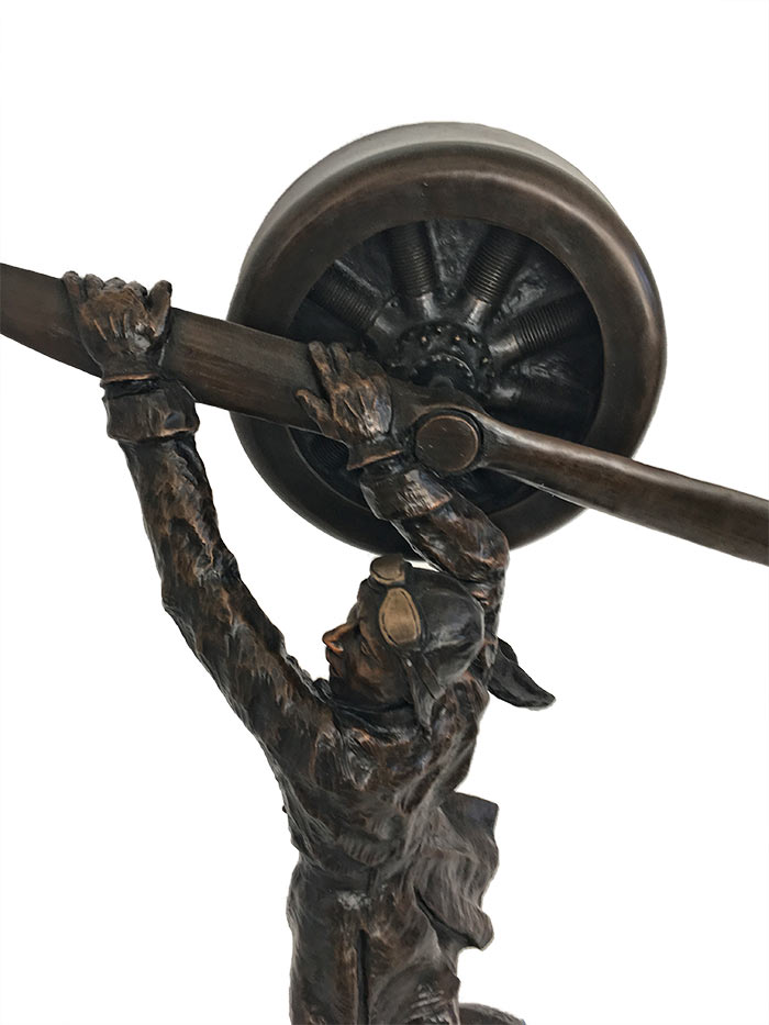 Mark Hopkins - Aviator - bronze pilot sculpture of an American aviator available at Sculpture Collector