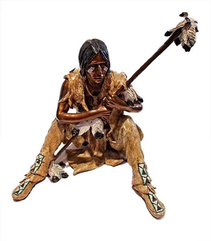 Marie Barbera - The Arapahoe - bronze sculpture of an American Indian for sale at Sculpture Collector - Famous Sculpture