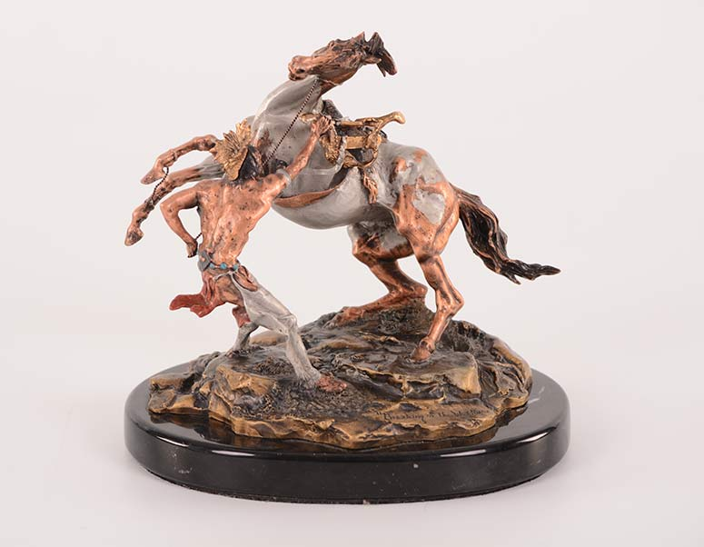 Michael Boyett 'Breaking of the War Horse' a realistic old west pewter casting sculpture available for sale at Sculpture Collector
