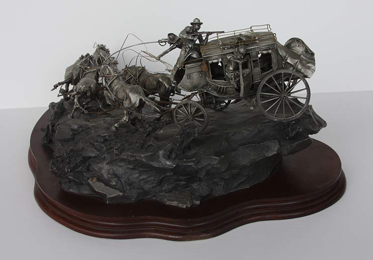 Michael Boyett 'Flat Out for Red River Station' a realistic old west pewter casting sculpture available for sale at Sculpture Collector