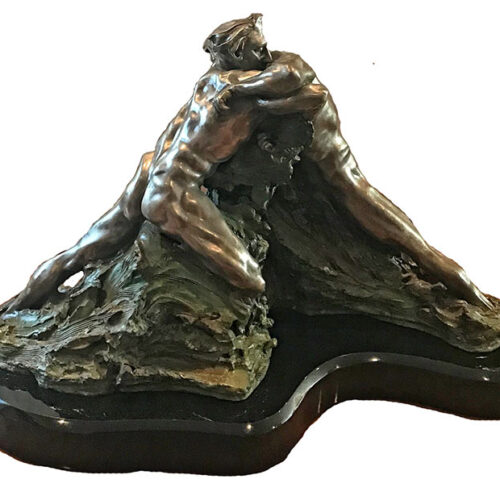 M.L. Snowden Genesis bronze sculpture of geological titans locked in a noble conflict