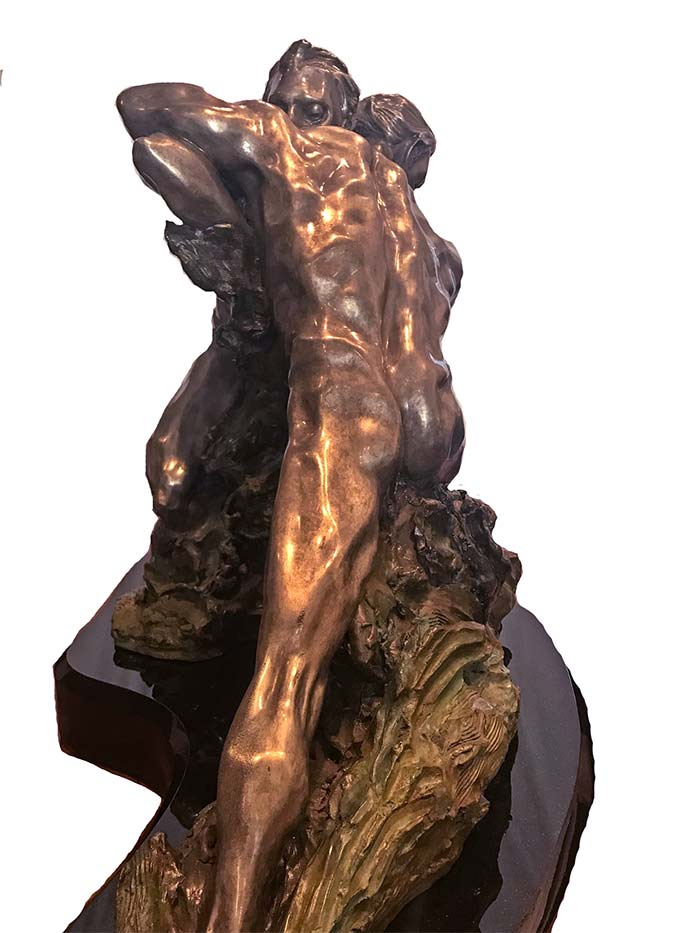 M.L. Snowden Genesis bronze sculpture of an American Indian Warrior for sale at Sculpture Collector