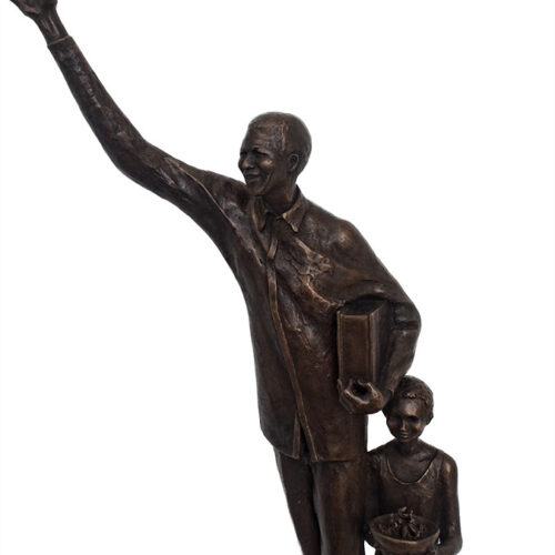 Maureen Quin Fine Bronze Sculpture - Mandela and Child - available now at Sculpture Collector