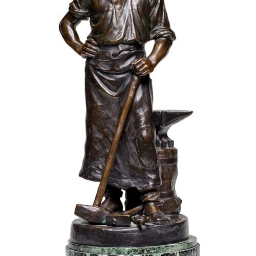 Rudolf Kaesbach Fine Art Deco Bronze Sculpture - Man with Anvil and Tools - available now at Sculpture Collector