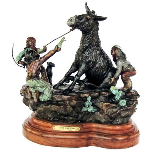 'Chinle Jump Start' A Famous Limited edition bronze Native American and burro sculpture by Susan Kliewer available now from Sculpture Collector