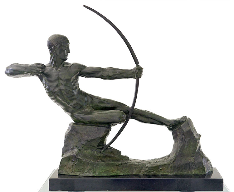 Victor Demanet Fine Art Deco Bronze Sculpture Male Nude Archer available now at Sculpture Collector