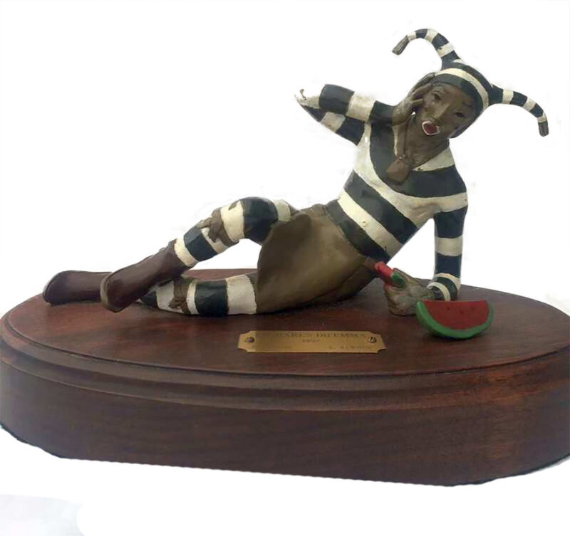 Lois Montoya Rumohr Bronze Sculpture 'Koshare's Dilemma' for sale at Sculpture Collector