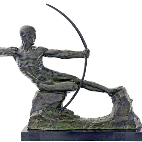 victor-demanet-male-nude-archer-bronze-sculpture