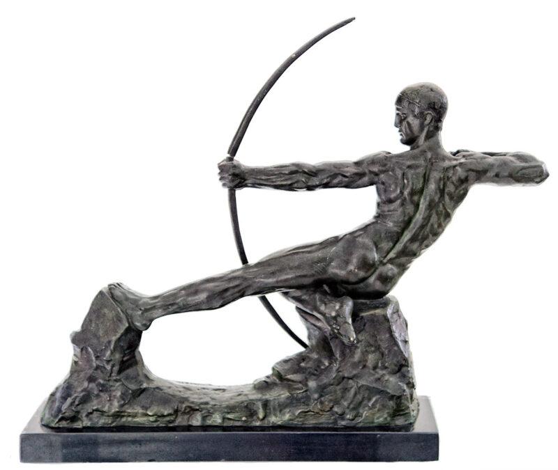 victor-demanet-male-nude-archer-bronze-sculpture