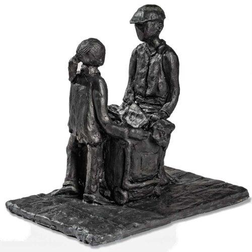 Ellen Coffey fired clay sculpture 'Conversation'