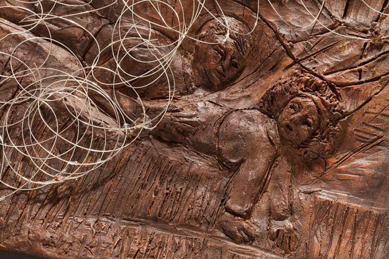 Crossing I - Fired Clay and Mixed Media Hanging Bas Relief by Ellen Coffey