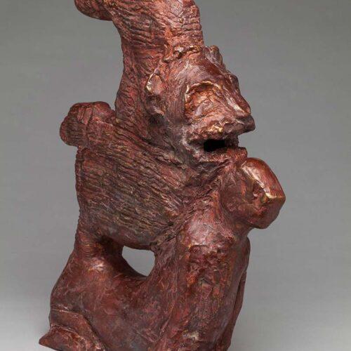 Ellen Coffey unique bronze sculpture 'Sicilian Lion Totem'
