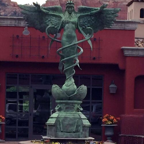 Caduceus a monumental bronze sculpture by James Muir