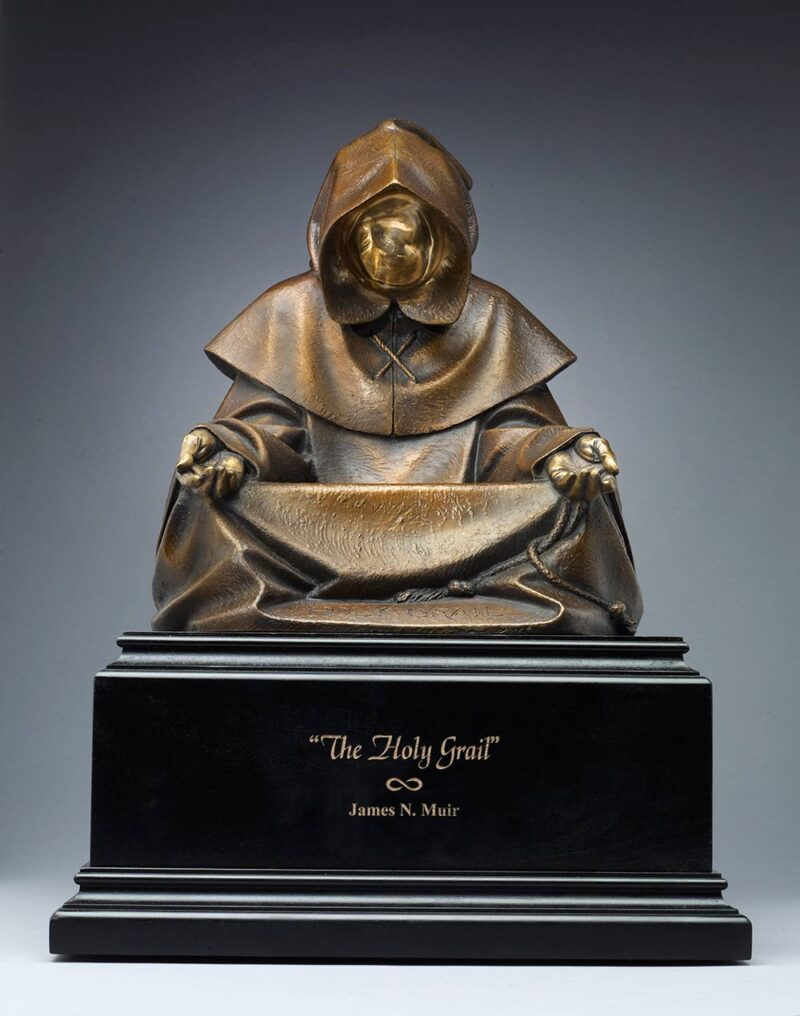 The Holy Grail a bronze sculpture by James Muir